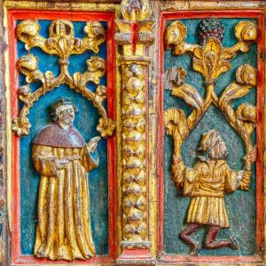Rood Screen Wood Carving Coloured Gilding Figures Holy Man Saint Genesius 16th Century Medieval Bridford
