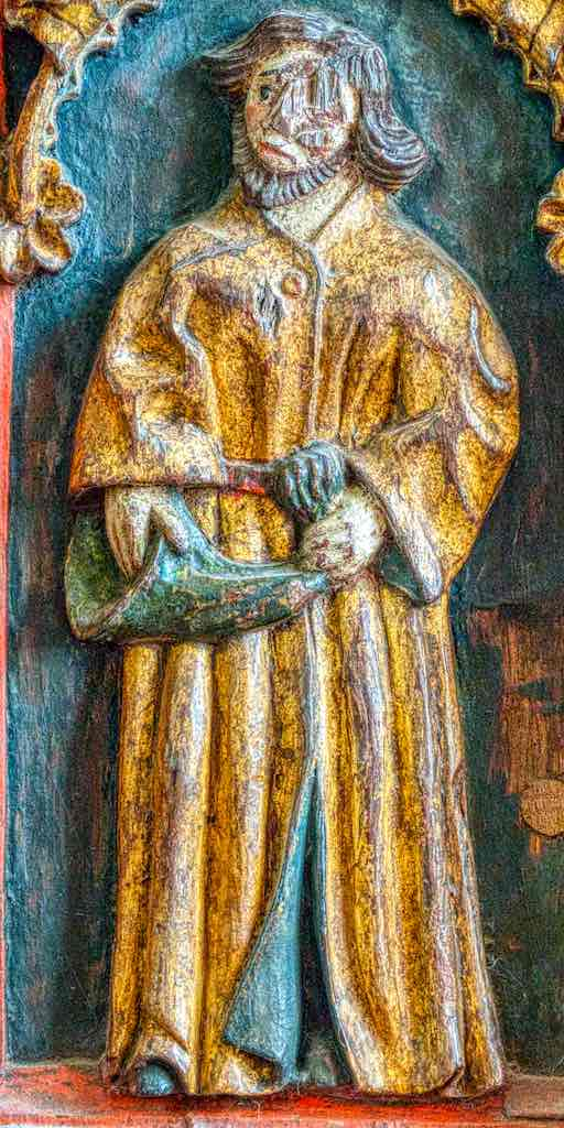 Rood Screen Wood Carving Coloured Gilding Figures Holy Man Zink Musician 16th Century Medieval Bridford