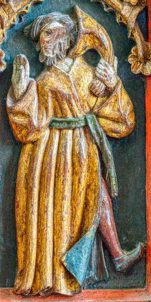 Rood Screen Wood Carving Coloured Gilding Figures Holy Man Zink Musician Red Stocking 16th Century Medieval Bridford