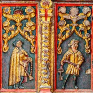 Rood Screen Wood Carving Coloured Gilding Figures Saint Genesius Dominic Rosary Grapes 16th Century Medieval Bridford