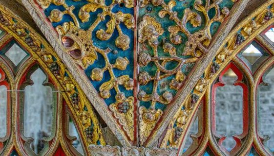 Rood Screen Wood Carving Coloured Gilding Plant Spandrel Poppy Heads Pomengranates Crown 16th Century Medieval Bridford