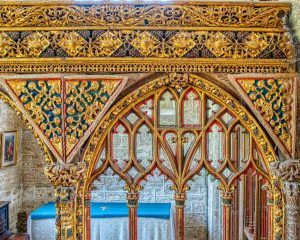 Rood Screen Wood Carving Coloured Gilding Plants Foliage Spandrels Tracery 16th Century Medieval Bridford