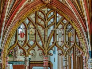 Rood Screen Wood Carving Coloured Tracery Foliage Medieval 15th Century Kentisbeare