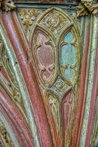 Rood Screen Wood Carving Coloured Vaulting Mouchette Medieval 15th Century Kentisbeare