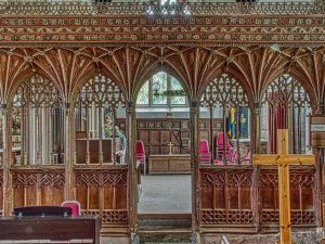 Rood Screen Wood Carving Coloured Vaulting Tracery Cornice Wainscoting Medieval 15th Century Kentisbeare