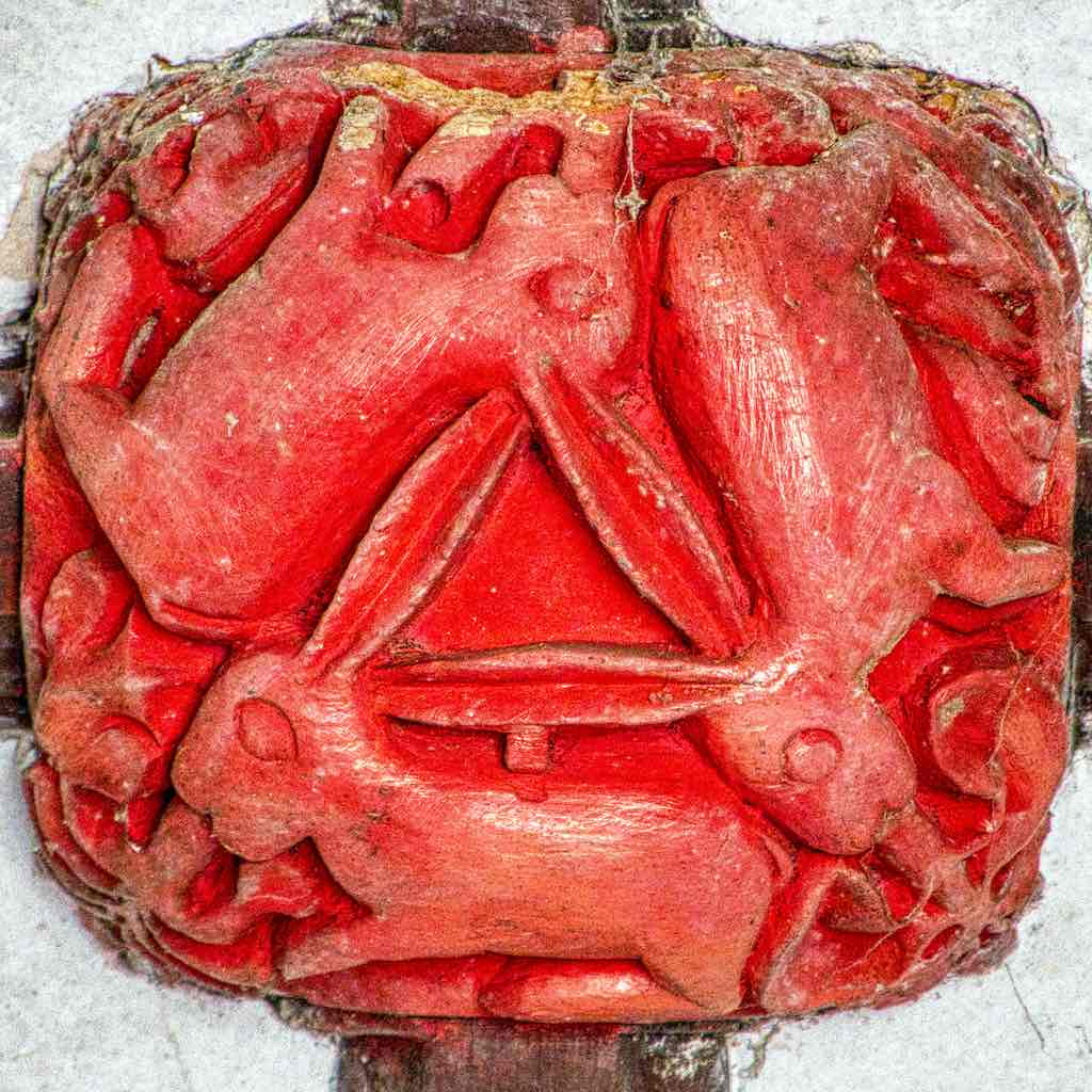 Roof Boss Wood Carving Coloured Three Hares 15th Century Medieval Bridford
