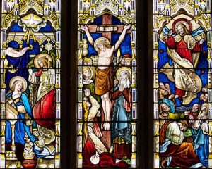 Stained Glass Crucifixion Annunciation Ascension East Window Victorian 19th Century Bridford