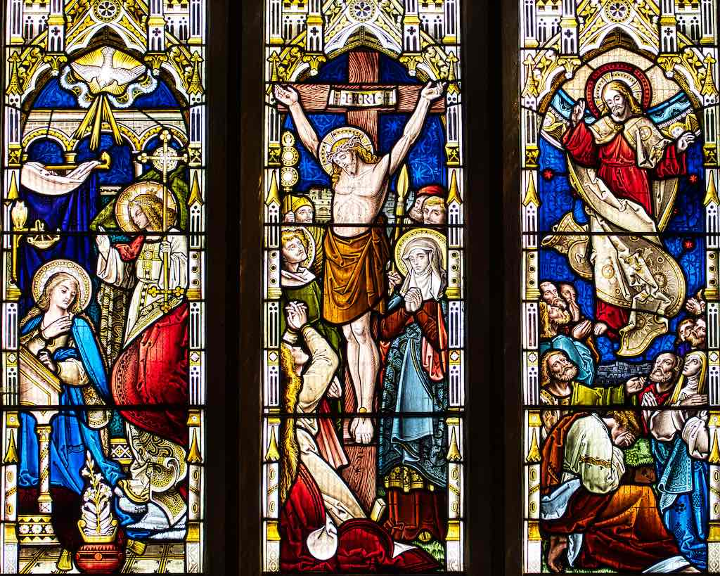 The Annunciation, Crucifixion and Ascension in the Victorian East Window