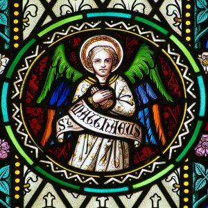 Stained Glass East Window Angel Saint Matthew Evangelist Victorian 19th Century Langtre
