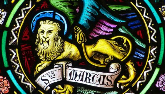Stained Glass East Window Winged Lion Saint Mark Evangelist Victorian 19th Century Langtree