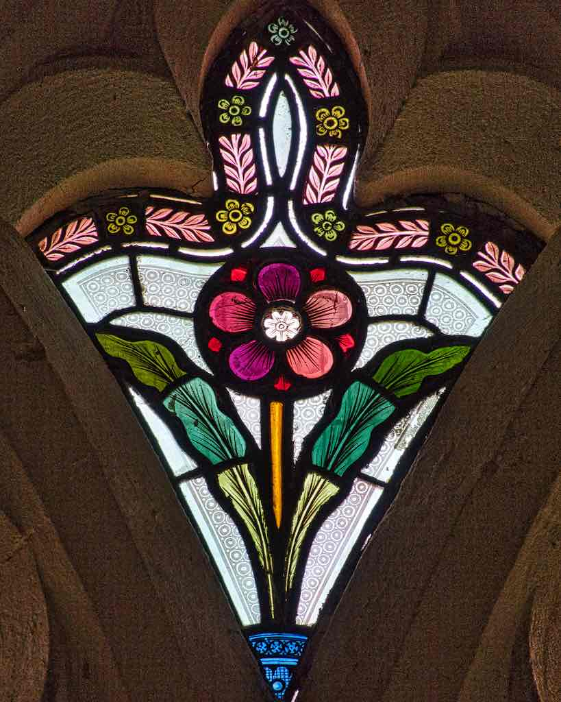 A pretty stained glass flower in Instow church