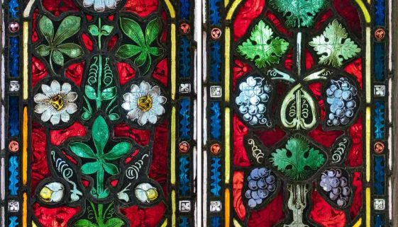 Stained Glass Foliage Grapes Passion Flower Victorian 19th Century Instow