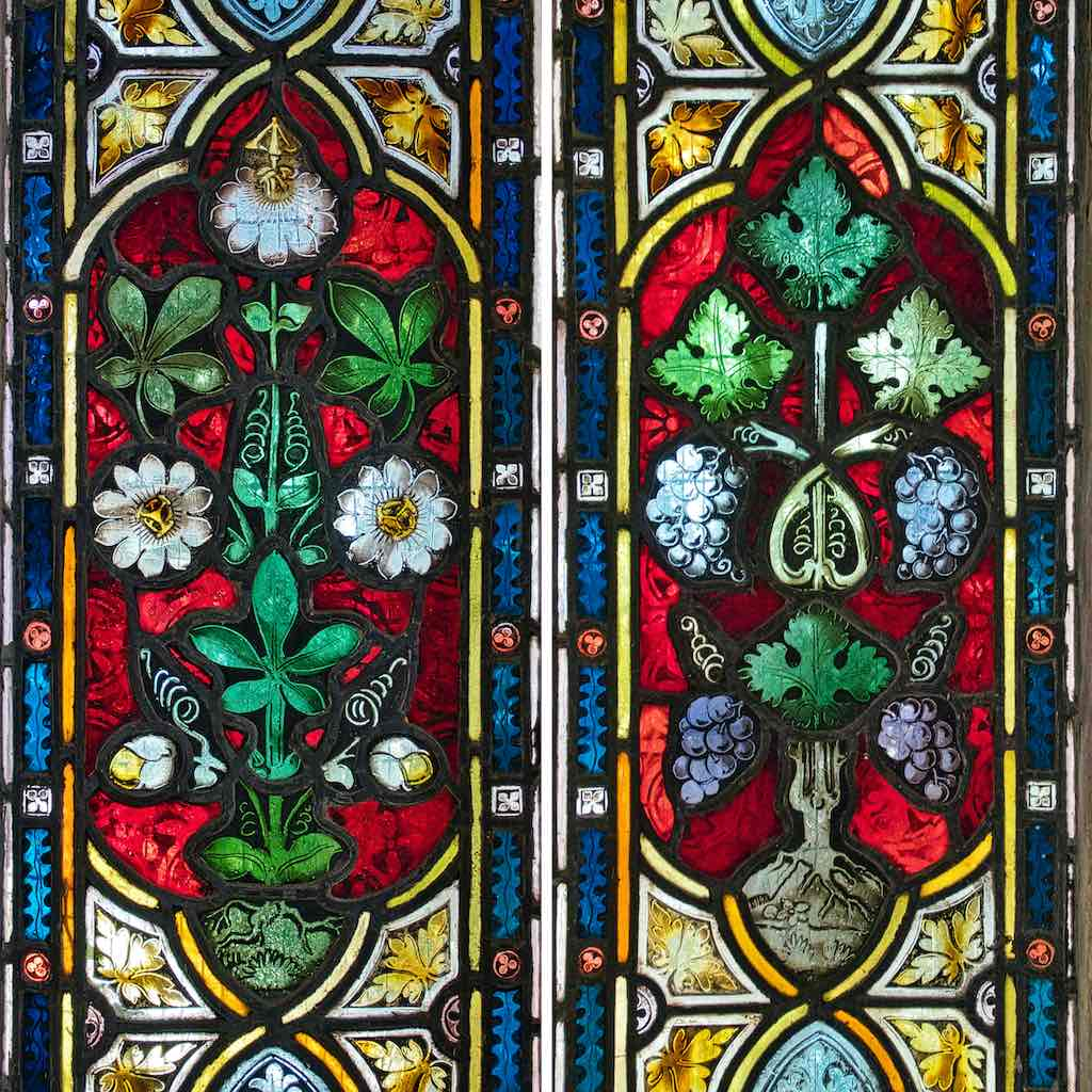 Passion flowers and grapes in Victorian stained glass