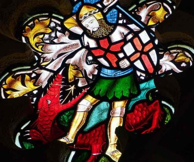 Stained Glass Saint George Dragon Victorian 19th Century Instow