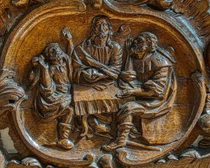 Supper At Emmaus Flemish Wood Carving Plain Christ 17th Century Langtree