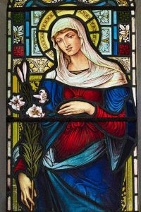 Virgin Mary Stined Glass Lily West Worlington