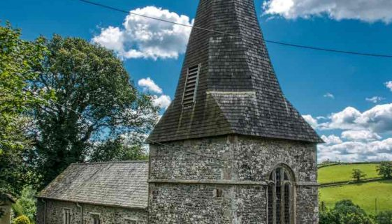 West Tower 13th Century Broach Spire Church Exterior Medieval West Worlington