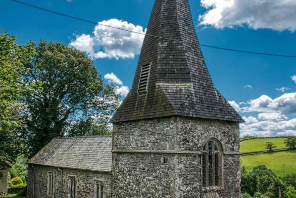 West Tower 13th Century Broach Spire Church Exterior Medieval West Worlington