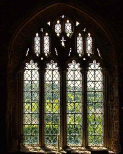 Window Interior Nave Granite Stonework Landscape Peace 15th Century Medieval Bridford