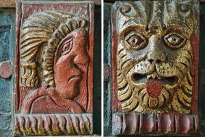 Wood Carving Coloured Head Lion West Gallery Medieval 17th Century Kentisbeare