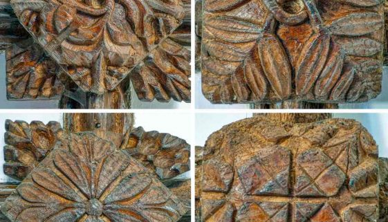 Wood Carving Plain Roof Boss Foliage 15th Century Medieval Rackenford.