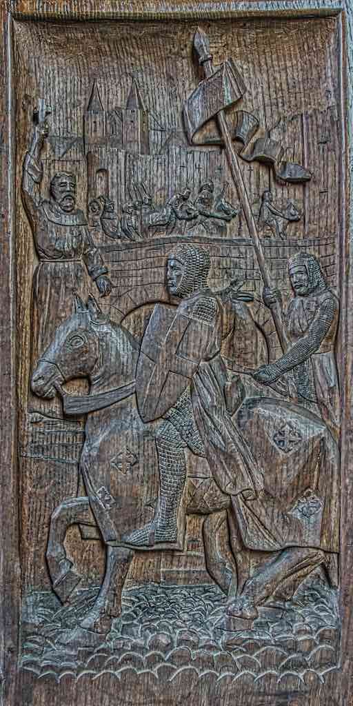 Bench End Wood Carving Plain Crusades Violet Pinwill 20th Century Sheepstor