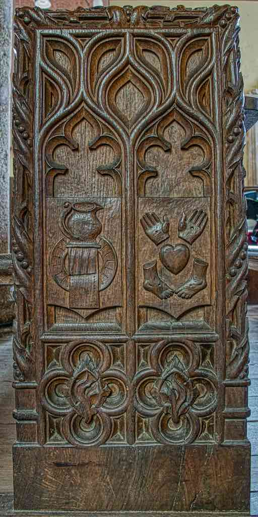 Bench End Wood Carving Plain Instruments OF The Passion Five Wounds Of Christ Violet Pinwill 20th Century Sheepstor