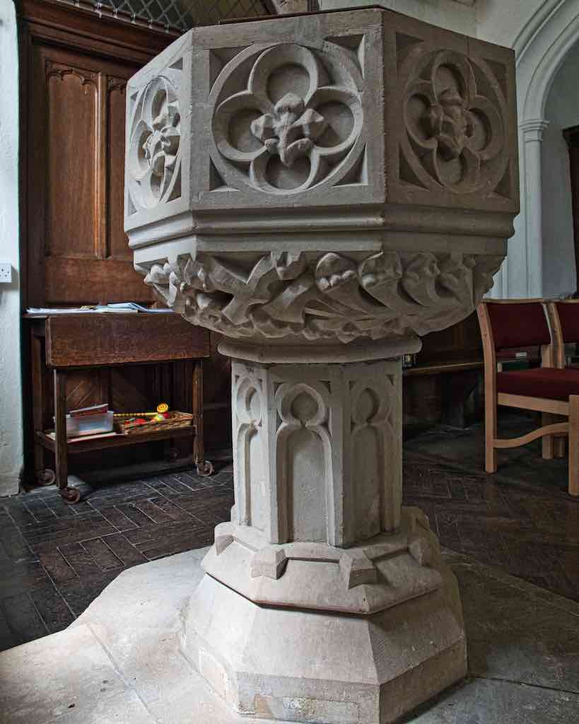 A very nice limestone font, medieval through and through