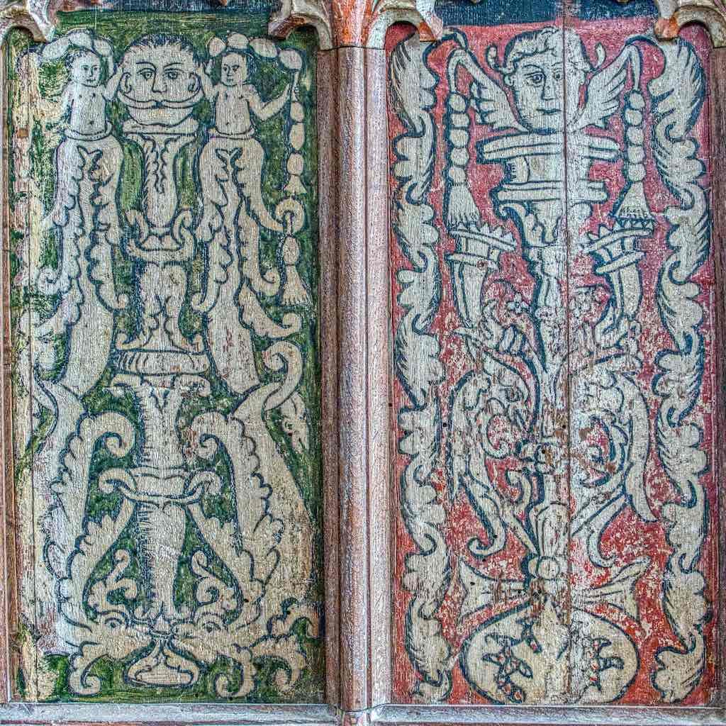 Renaissance painting on the rood screen wainscoting, probably added later in the 16th century
