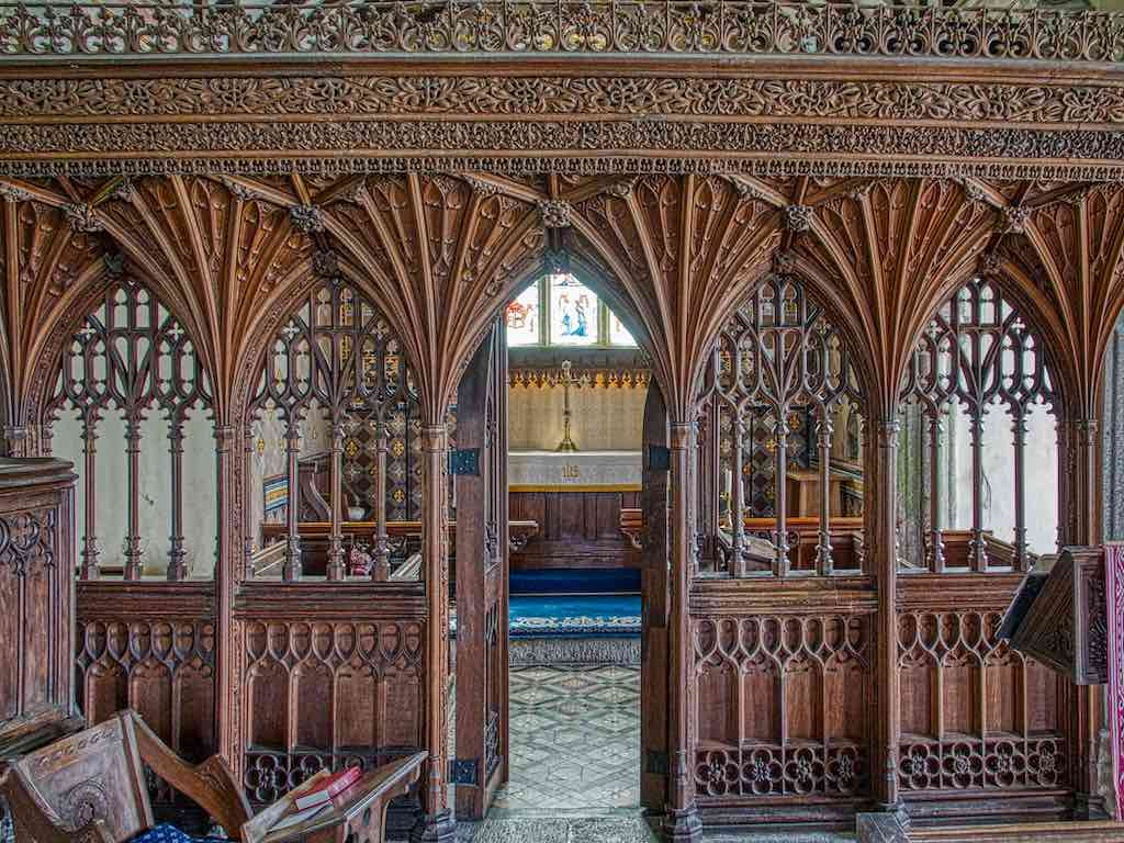 20th century rood screen carved by Herbert Read