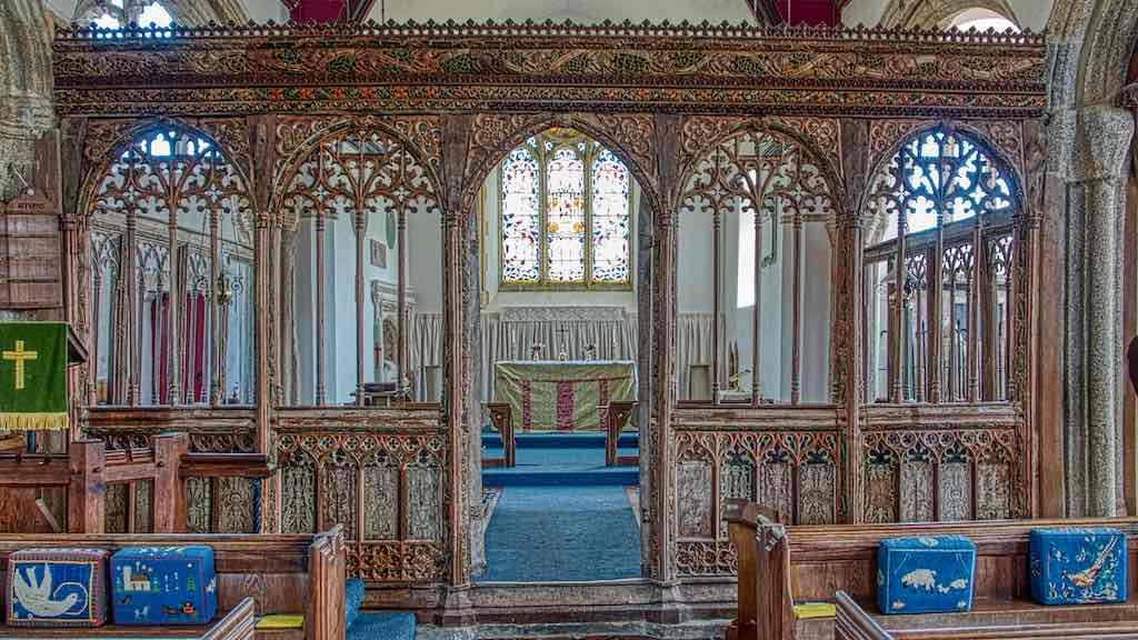 The wonderful 15th century rood screen with original colouring