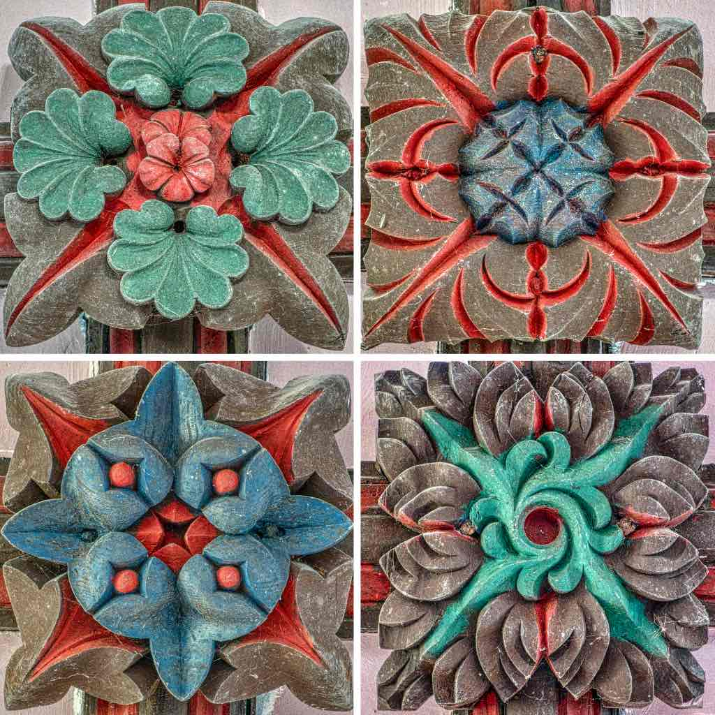 Striking foliage roof bosses, very well coloured
