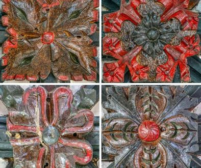 Roof Boss Wood Carving Coloured Foliage 15th Century Medieval Kennerleigh