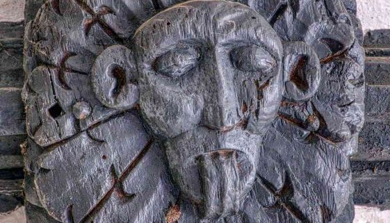 Roof Boss Wood Carving Plain Demon Titivillus 15th Century Medieval Kennerleigh