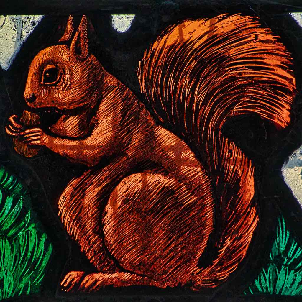 A beautifully painted red squirrel from the St Francis window