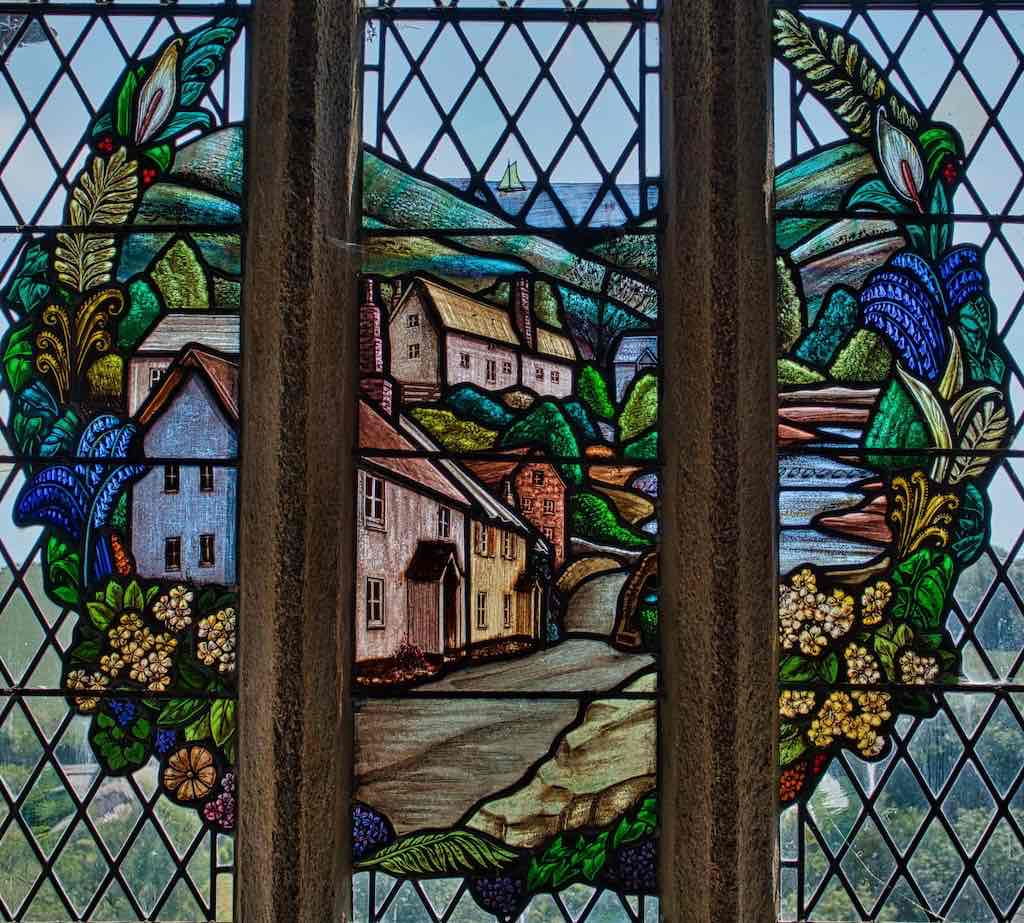 The only thing cuter than the village is this 20th century stained glass window in the church