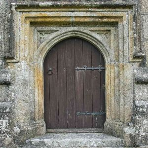 West Door Volcanic Stone Carving Plain Stonework Dartmoor 15th Century Medieval Sheepstor