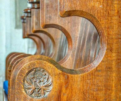 Choir Stalls Wood Carving Plain Flower 19th Century Victorian Hemyock