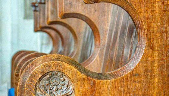 Choir Stalls Wood Carving Plain Flower 19th Century Victorian Hemyock
