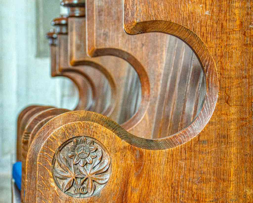 Choir stalls with a passion flower