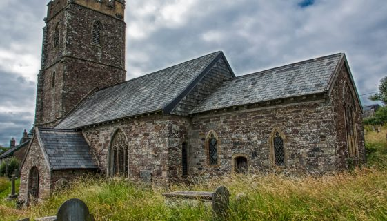 Church Exterior Chancel West Tower Stonework Red Stone 15th Century Medieval Molland