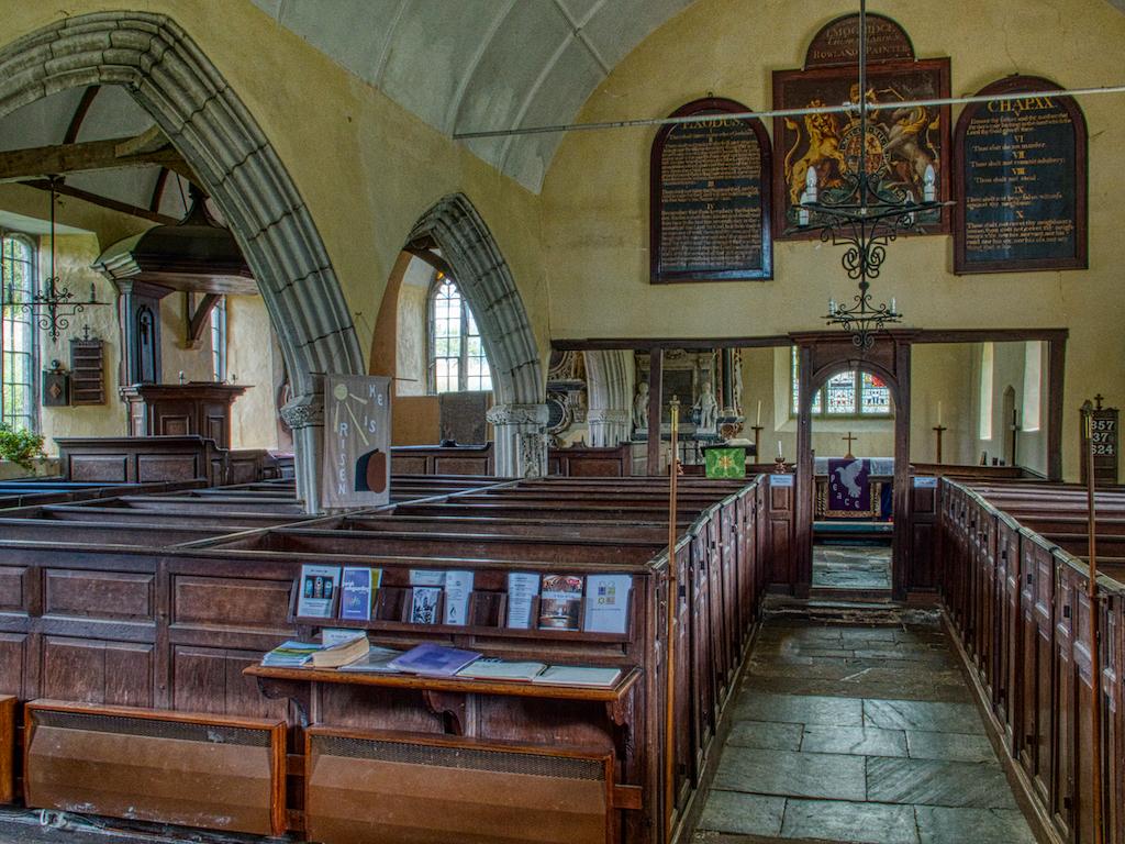 Church Interior Box Pews Nave Royal Coat Of Arms Pulpit Pillar 15th Century Medieval Molland