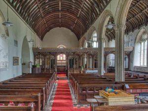 Church Interior Nave Rood Screen Pillar Pews 15th Century Medieval Burrington