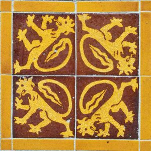 Floor Tile Encaustic Lion Victorian 19th Century Bradford