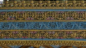 Rood Screen Wood Carving Coloured Cornice 15th Century Medieval Burrington