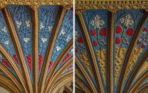 Rood Screen Wood Carving Coloured Cornice Vaulting Plant 15th Century Medieval Burrington
