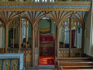 Rood Screen Wood Carving Coloured Cornice Vaulting Tracery Wainscoting 15th Century Medieval Burrington