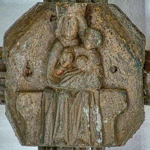 Roof Boss Wood Carving Plain Madonna And Child Christ 15th Century Medieval Burrington