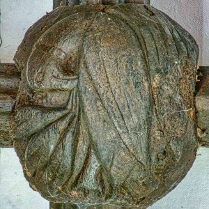 Roof Boss Wood Carving Plain Pelican In Her Piety Christ 15th Century Medieval Burrington