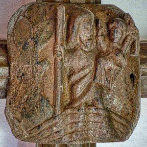 Roof Boss Wood Carving Plain Saint Christopher Christ 15th Century Medieval Burrington